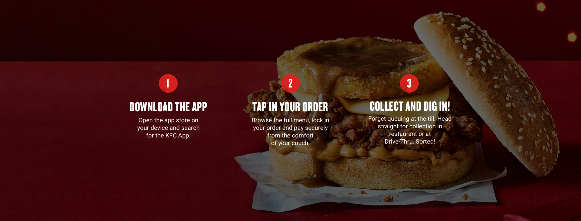Download the app, tap in your order, collect and dig in