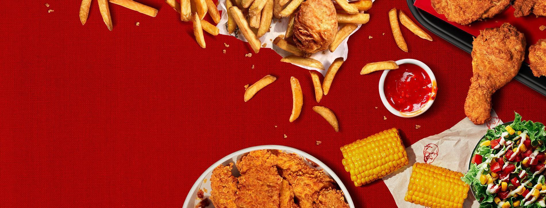 KFC food on red tablecloth